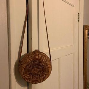 Handbags - Round Rattan Woven Shoulder Bag